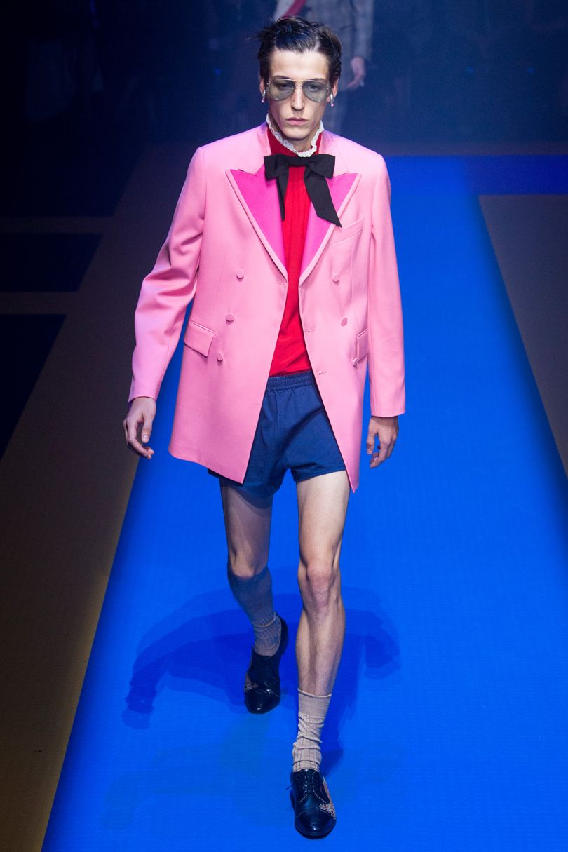 Gucci,yeah?There's more than a nuance of Thunders pink impact about Gucci's 'coral' double breasted military coat with fuscia lapels. Came styled with a black western bow (I tip these and bolo ties are to become an edgy evening wear/cocktail thing, too, and gonna do them regardless if thing or not. - Note. Johnny would have worn actaul trouses, though.