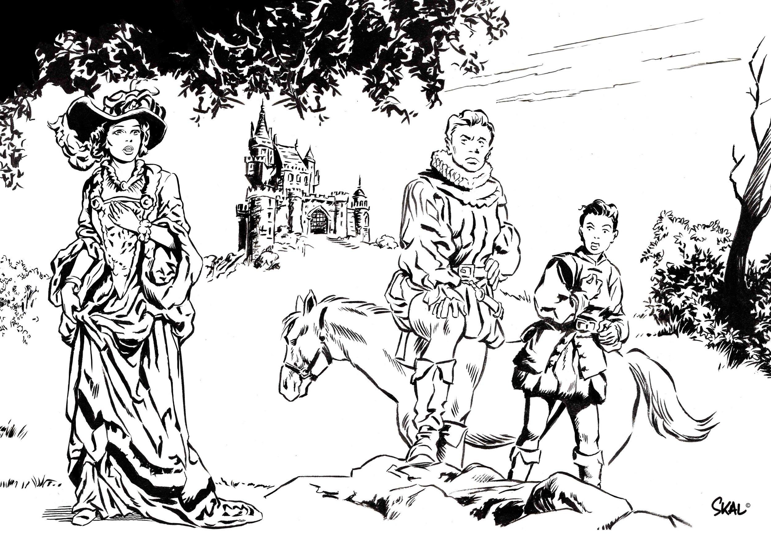 Décors, personnages et costumes du XVème siècle dans une ambiance rétro.