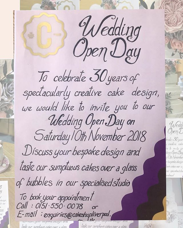 Can't believe we started in the cake business 30 years ago!! We are going to celebrate our 30th birthday in style this November, including a fabulous Wedding Cake Open Day, on Saturday 10th November. We would love you to come down to eat cake, drink some bubbles and talk about your wedding cake design ideas. Please book an appointment