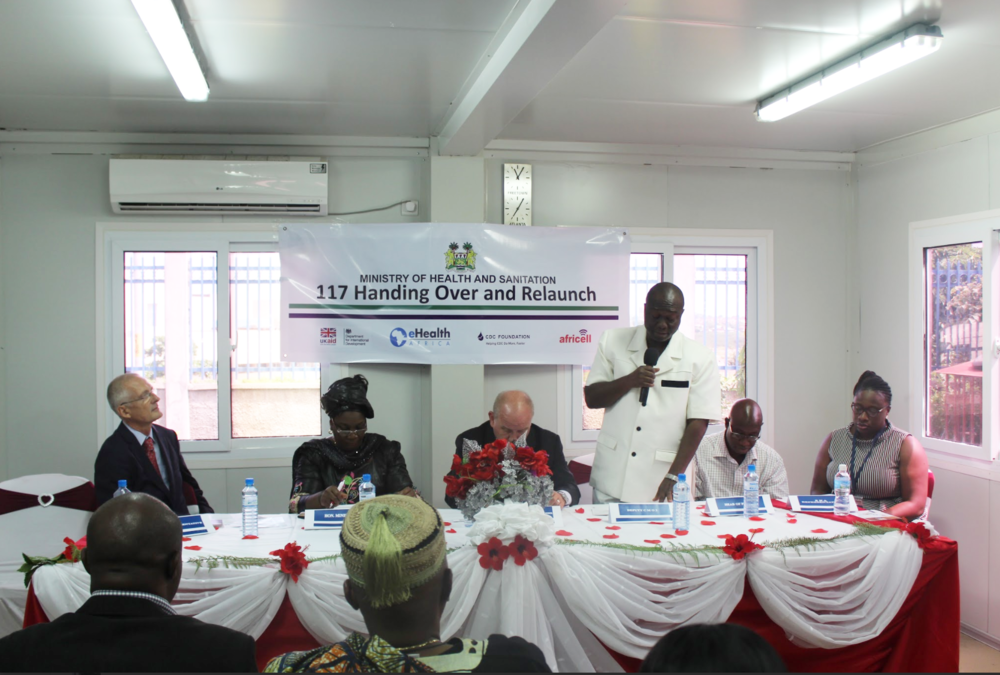 Speakers (left to right): A CDC Representative, the Deputy Minister from the MoHS, the British High Commissioner to Sierra Leone, the Deputy Chief Medical Officer from the MoHS, the Head of PHNEOC, and eHA's Deputy Country Director of Sierra Leone. Photo: Hawa Kombian, eHA