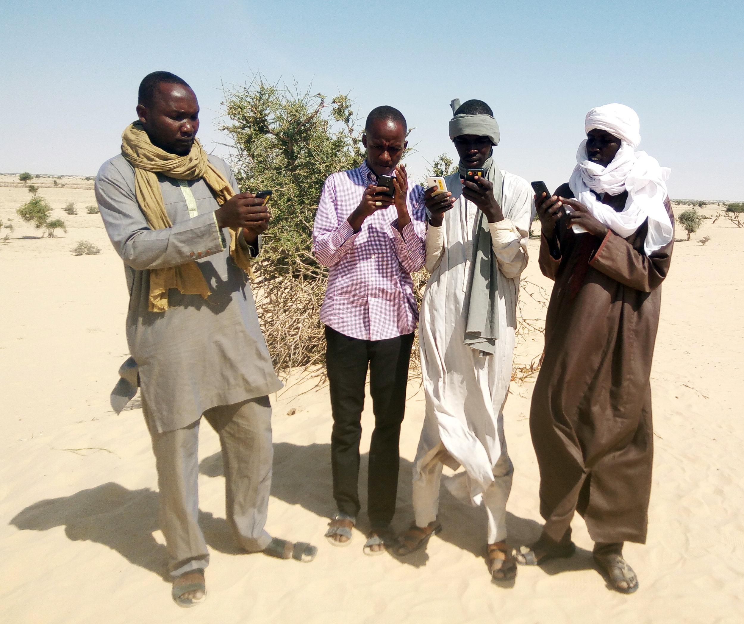 eHA's Technical Officer with community informants in N'Guigmi, Niger using the AVADAR mobile application to send in their weekly AFP case report.