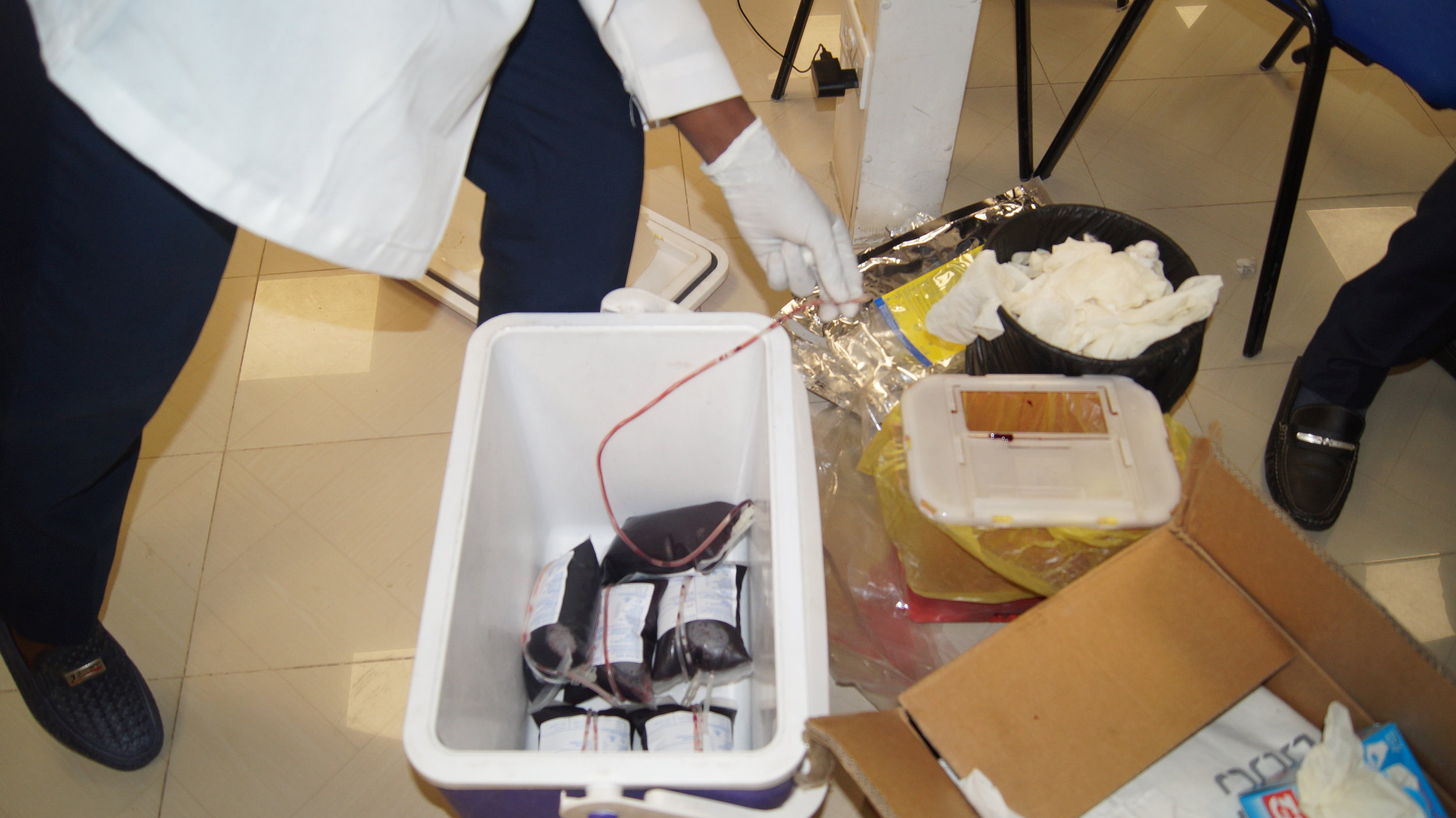 All that good stuff! The Red Cross Team stores the blood bags in a cooler to preserve till it gets to the blood bank