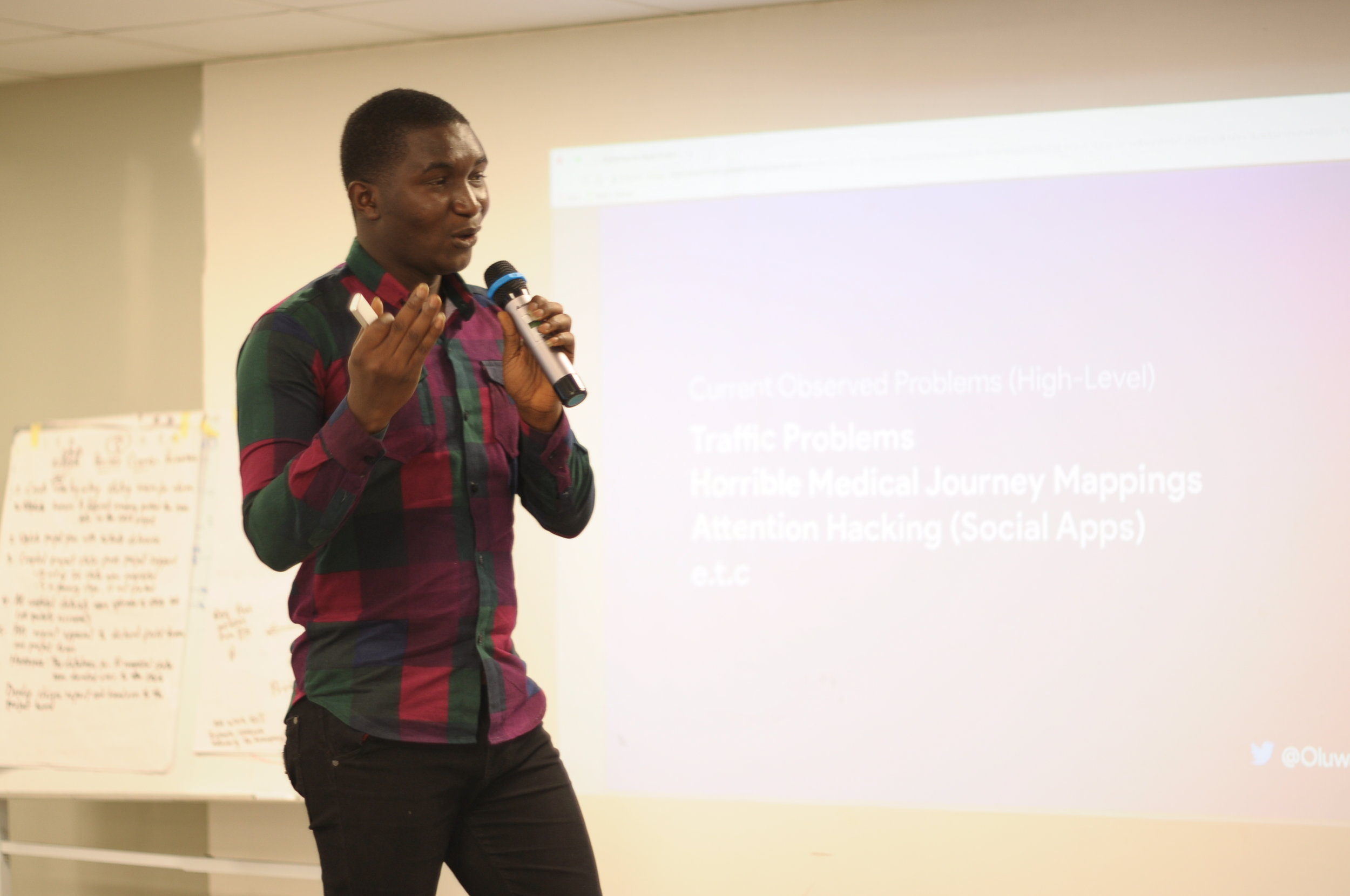 The second presentation, Designing for the Right Problems, was from Oluwatobi Akindunjoye