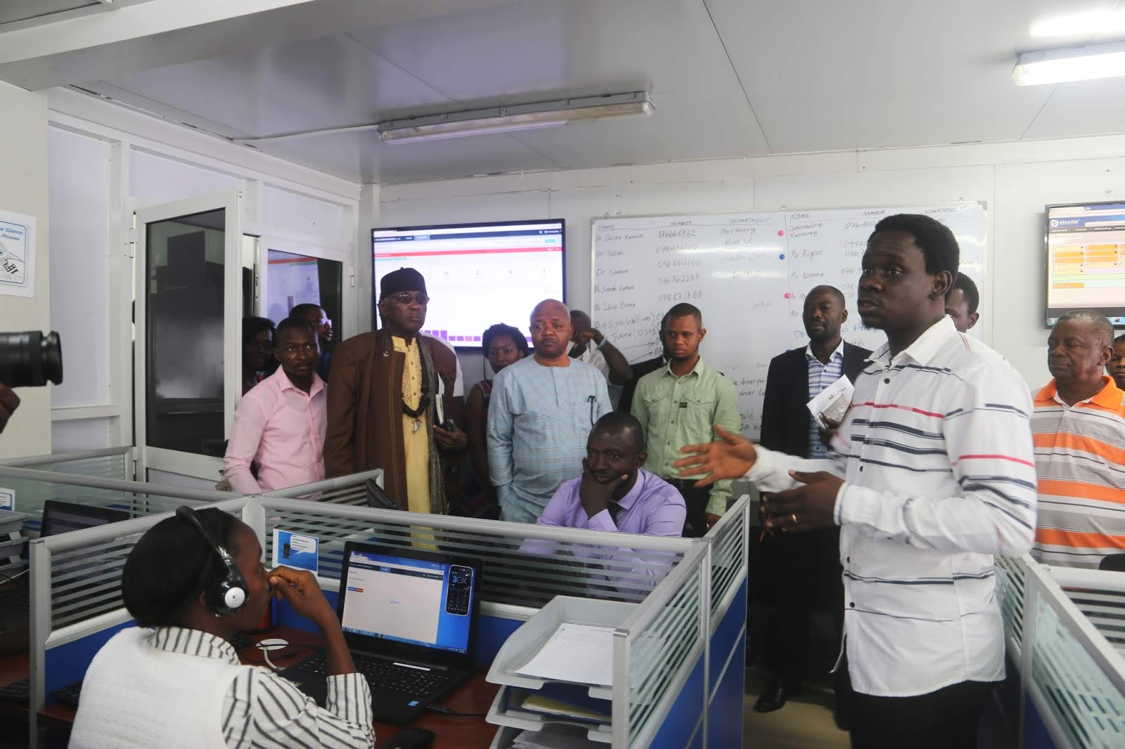 Photo caption: Alexander Taylor, 117 Call Center Manager conducted a tour of the upgraded facility