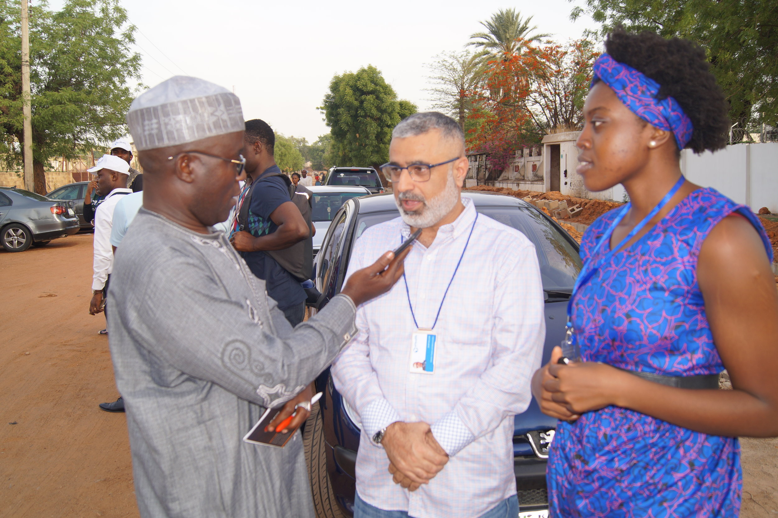 Zahir Baloum, Director, Finance and Administration and Hawa Kombian, Chief of Staff, grant an interview