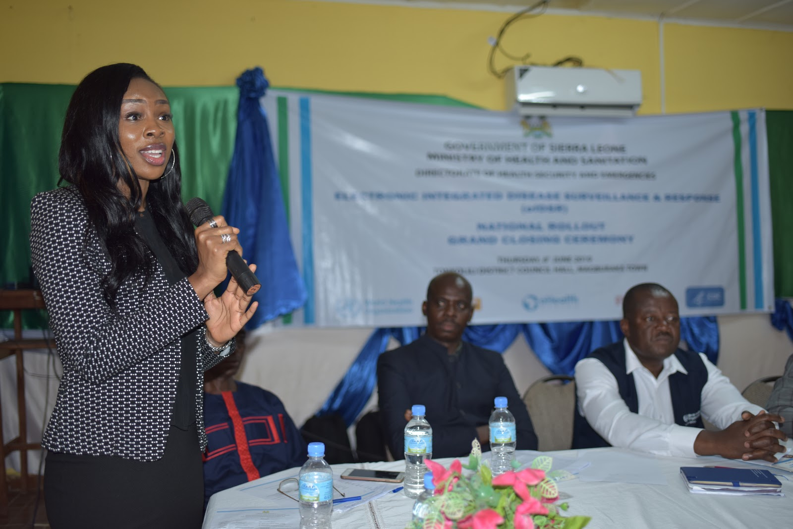 Nwanyibuife Obiako, Senior Programs Manager, eHA Sierra Leone, making a statement during the eIDSR rollout closing ceremony
