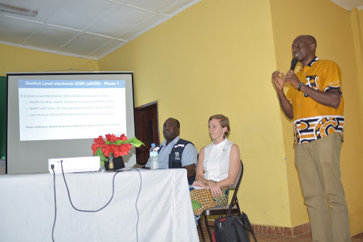 Nelson Clemens, eHA's eIDSR Project Coordinator presenting during the eIDSR rollout closing event