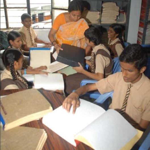 A library at Devnar School for Blind, Hyderabad