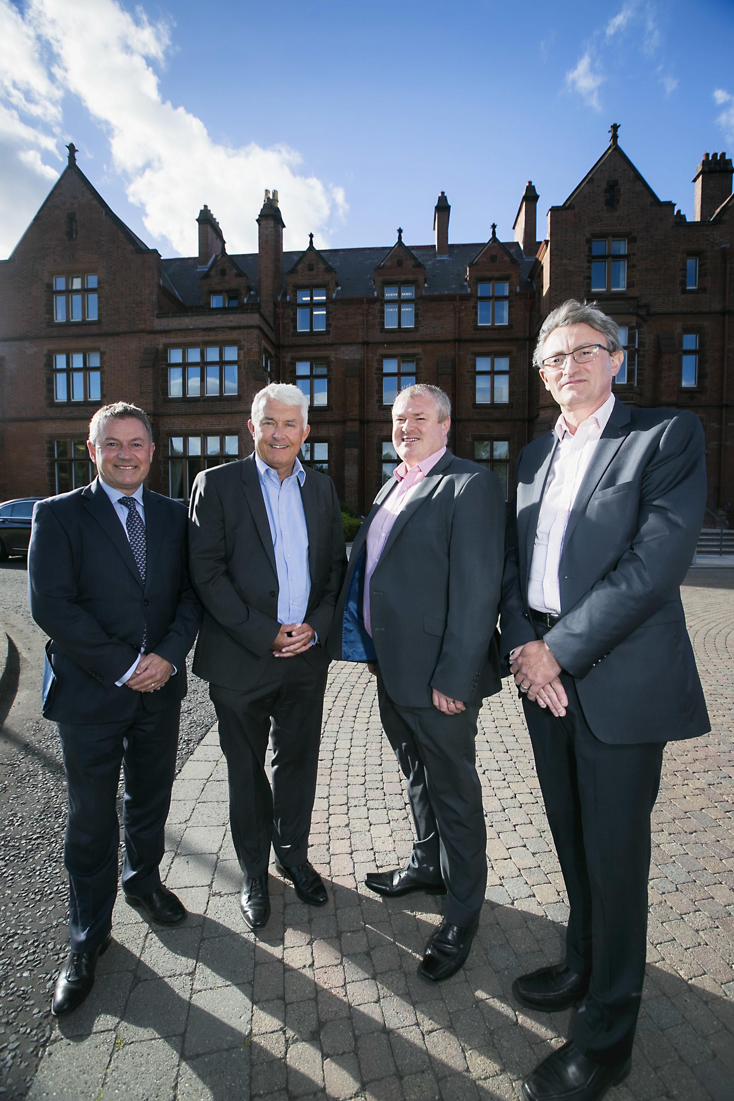 Gordon Milligan, IOD; Brendan Monaghan and Paddy O'Hagan, Neueda and Kevin Barrow, Osborne Clarke.jpg
