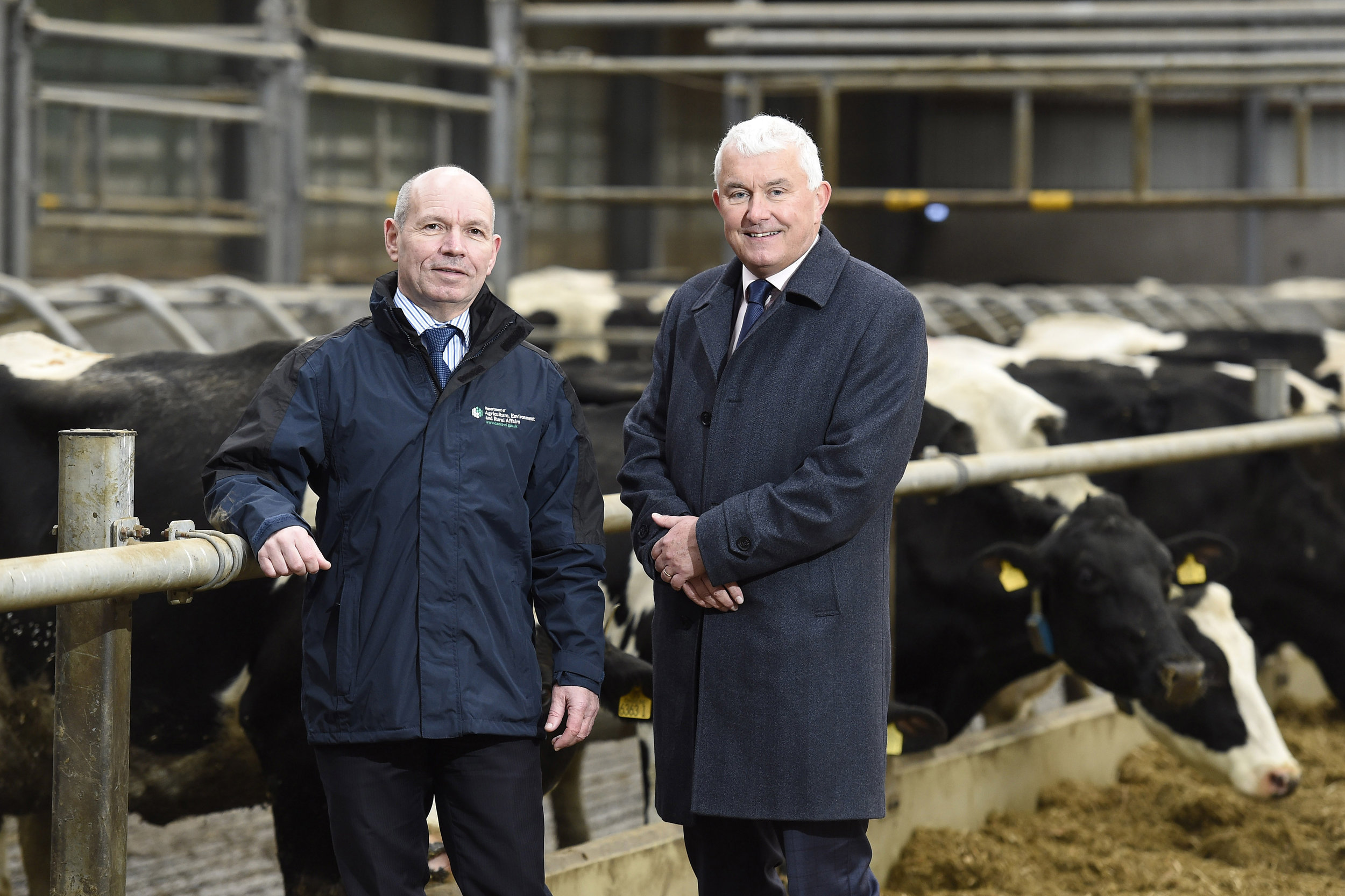 L-R Paul McGurnaghan, Director of Digital Services, Department of Agriculture, Environment and Rural Affairs (DAERA) with Brendan Monaghan, CEO at Neueda.