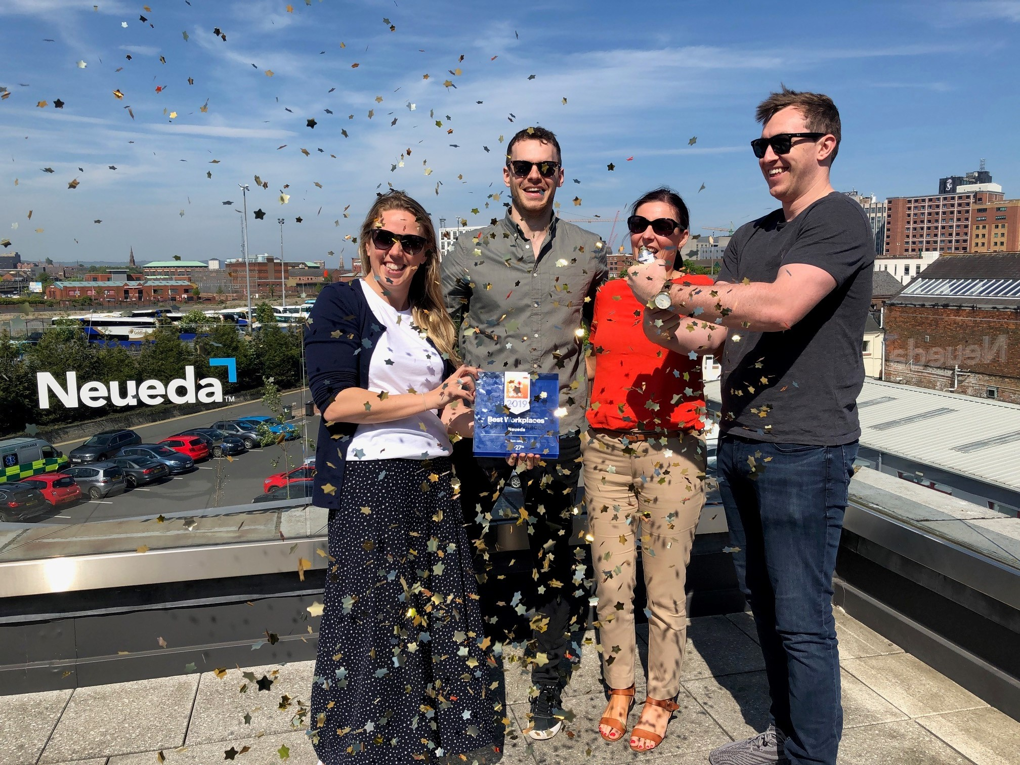 Our People and Culture Team celebrating Neueda being officially recognised as a 'Great Place to Work' - [L-R] Lisa Sweeney, Neil Mone, Orlaith Grego and Aaron Somers.