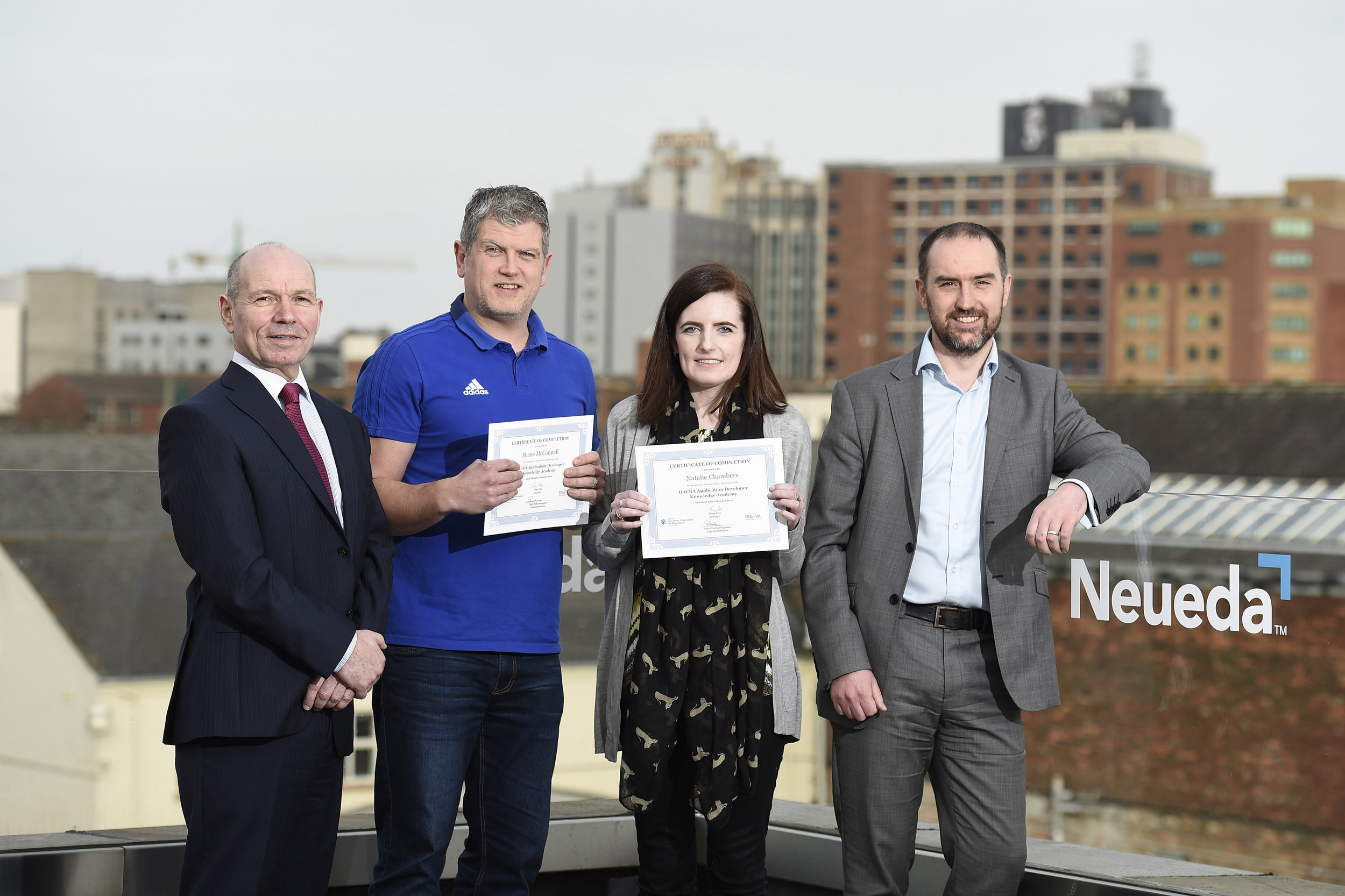 [L-R] Paul McGurnaghan, Natalie Chambers and Shane McConnell from DAERA are pictured with John McShane, Neueda.