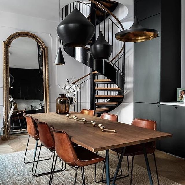 We would describe the design as masculine style. Dark wood, leather and black metal works perfectly together. The Beat black Range Pendant System from Tom Dixon fits just wonderful. . . . . .  #masculinstyle #upscaleinteriorsAG #designthelifeyoulove #germaninteriorbloggers #zuhause #dekoration #inneneinrichtung #architekturbüro #interiør #interiör #interiordesigner #interiorstyle #interiorinspo #interiorandhome #interior4all #homestyling #interiorforinspo #passion4interior #interiorlove #interior123 #interiorlovers #interiorforyou #interiorideas #instahome #interiordesignideas #passionforinterior #dreaminterior #interiorgoals | via @ideasdecorisabel