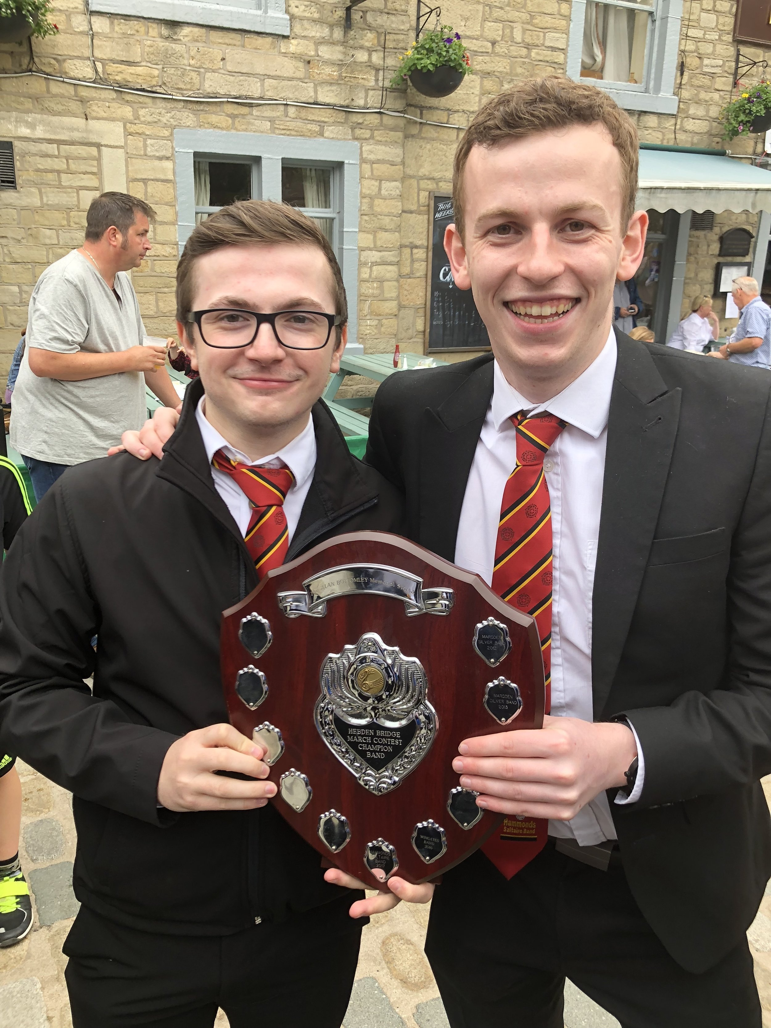 Ashley Higgins and Philip Varley with the shield
