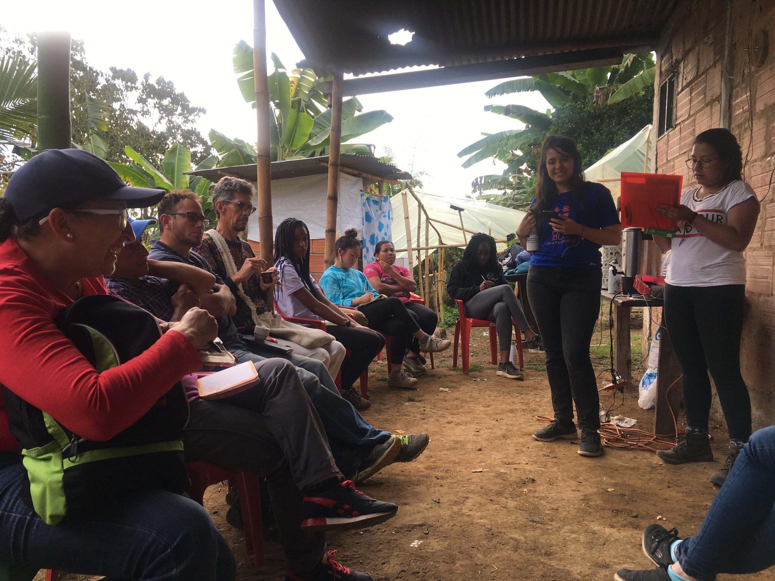 Co-designing with De Finca's coffee growers.  Photo credit: Rubez Chong
