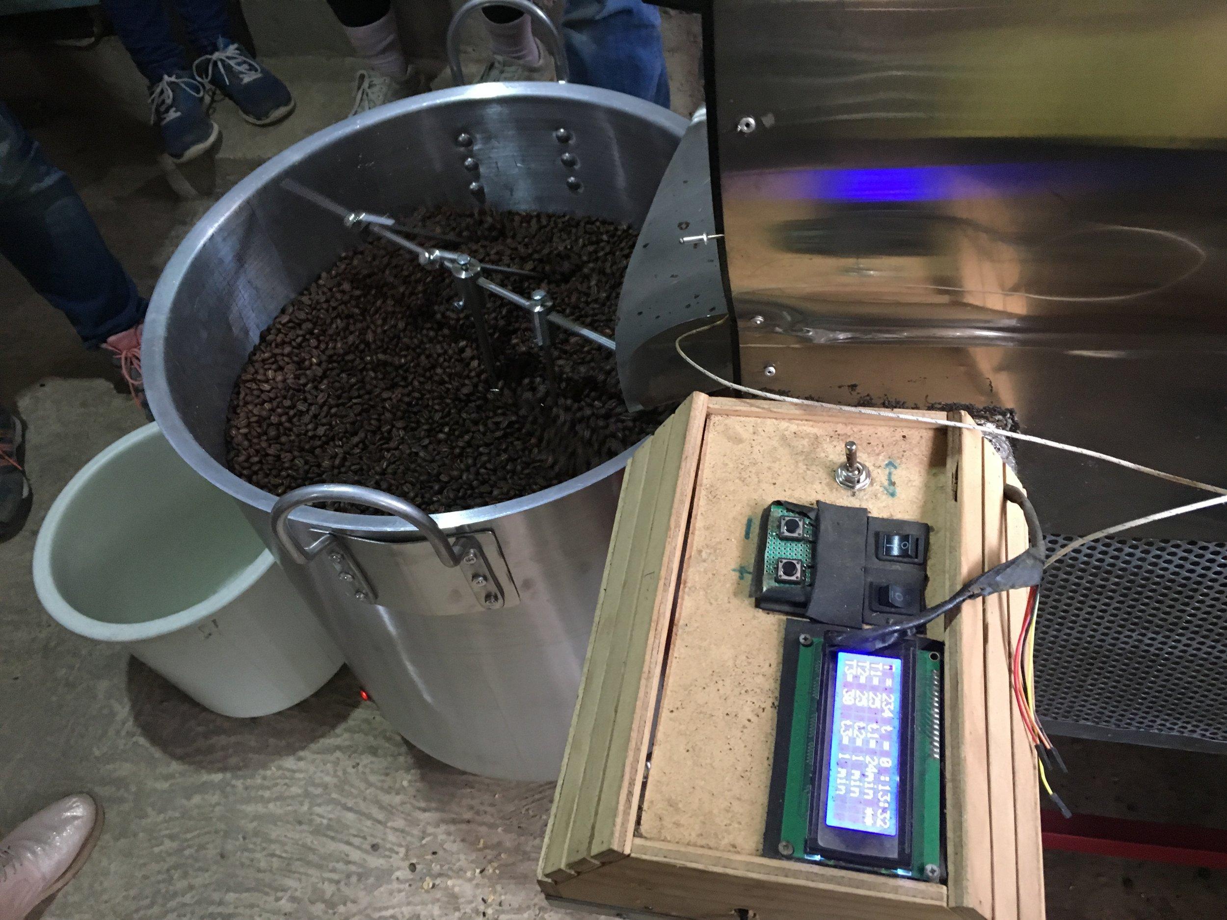 Testing the new machine — it works!  Photo credit: Rubez Chong