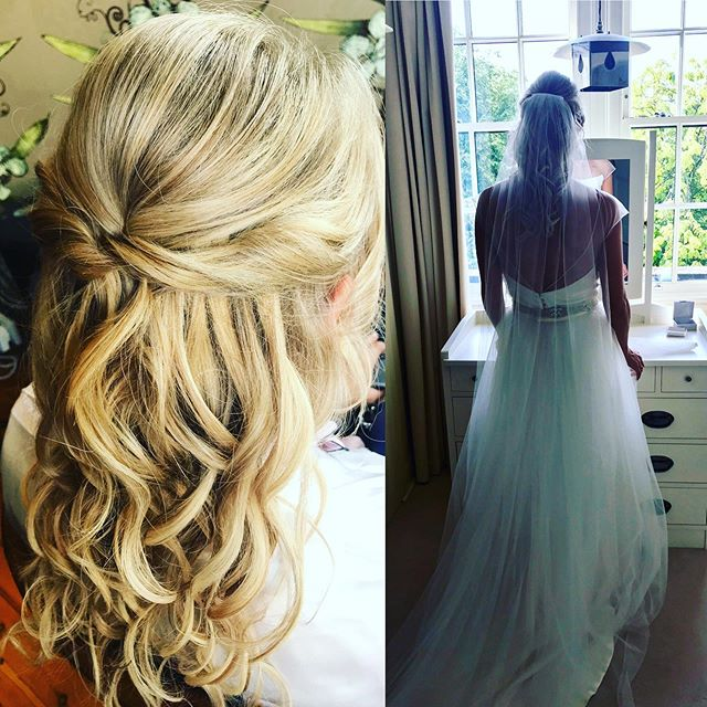 👰🏼ESME👰🏼 I had such a lovely day getting bride Esme and her lovely bridesmaids ready for her wedding @glasgowkelvingrove  We added extensions to Esme's hair for some volume and she opted for a natural half up do.  I was lucky enough to get a snap of her just about to leave, standing in her bedroom she grew up in, having a quiet moment, what a special thing to witness ! I felt very lucky.  Thanks for having me girls ❤️❤️❤️❤️
