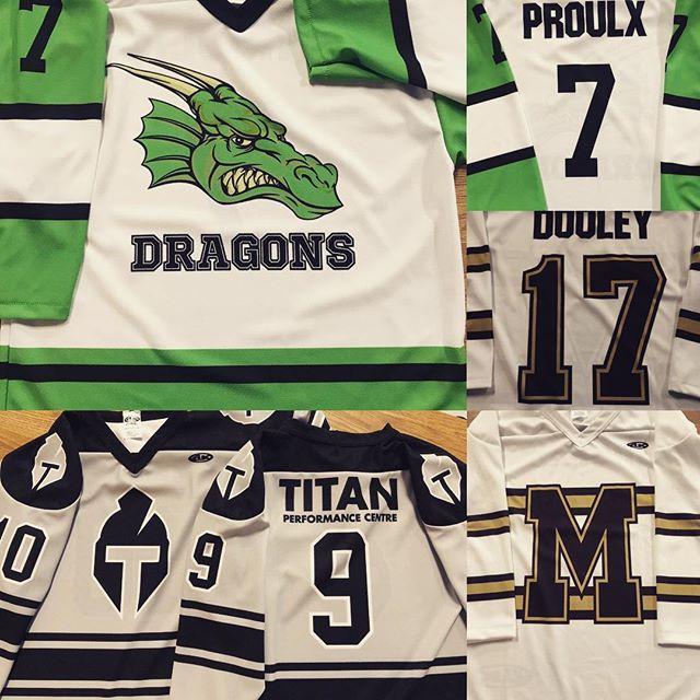Spring season jerseys keeping us busy this time of year. Plenty more on the go. #accentlogos #wemakecoolshit #springhockey #customjerseys #titanperformance #ottawa #customshirts