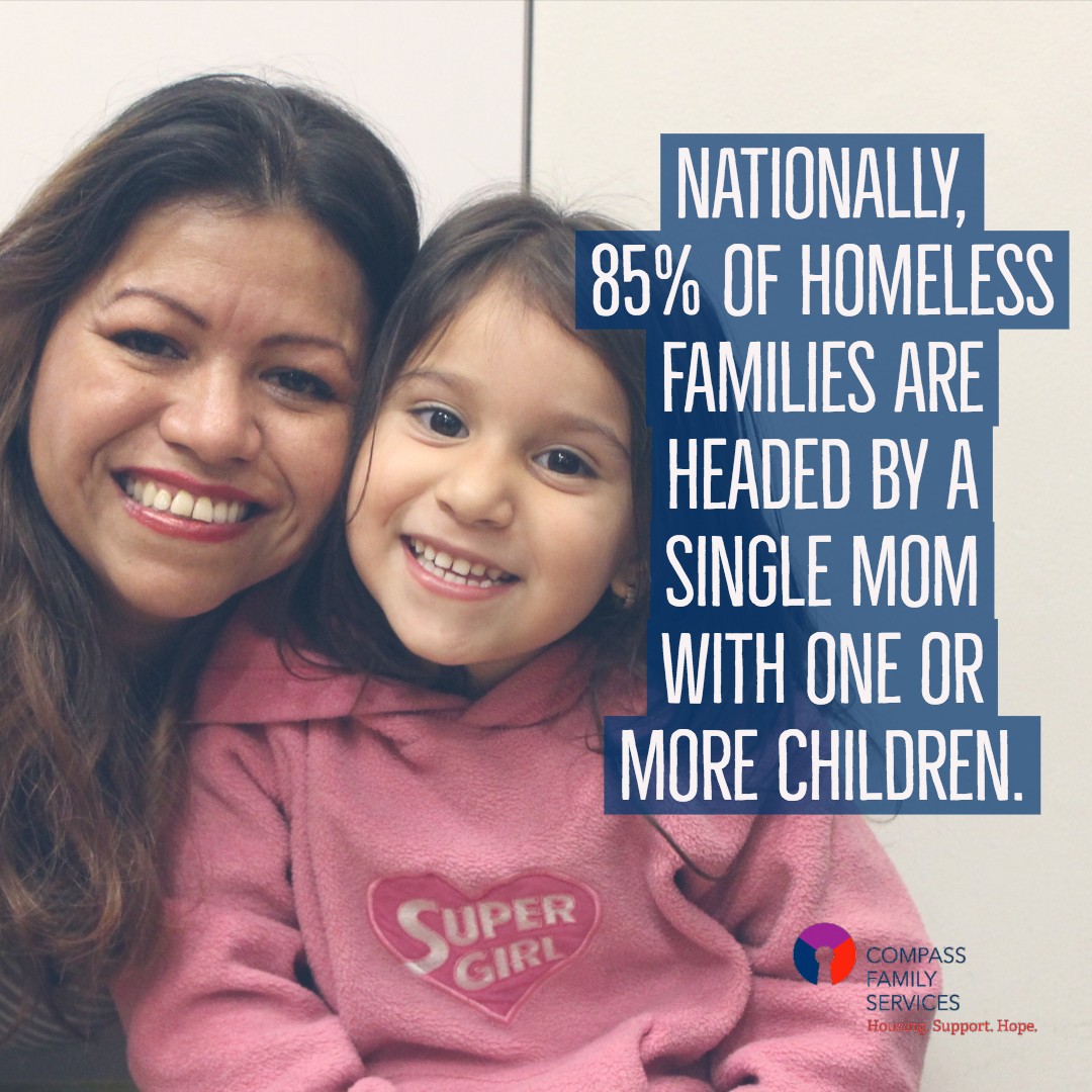 Nationally 85% of homeless families are headed by a single mom with one or more children -