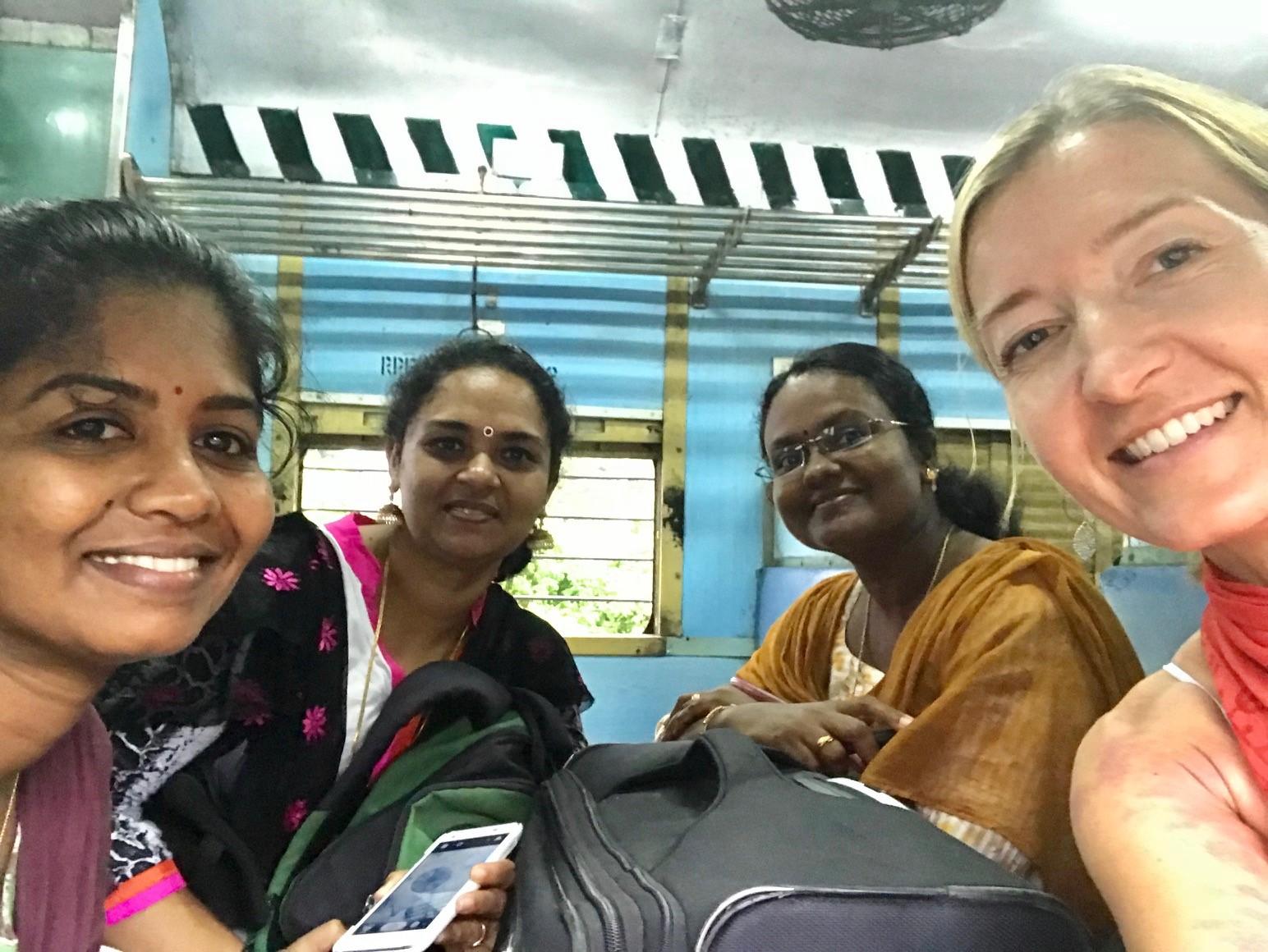 In the ladies car on the train from Mararikulam to Kollam, Kerala