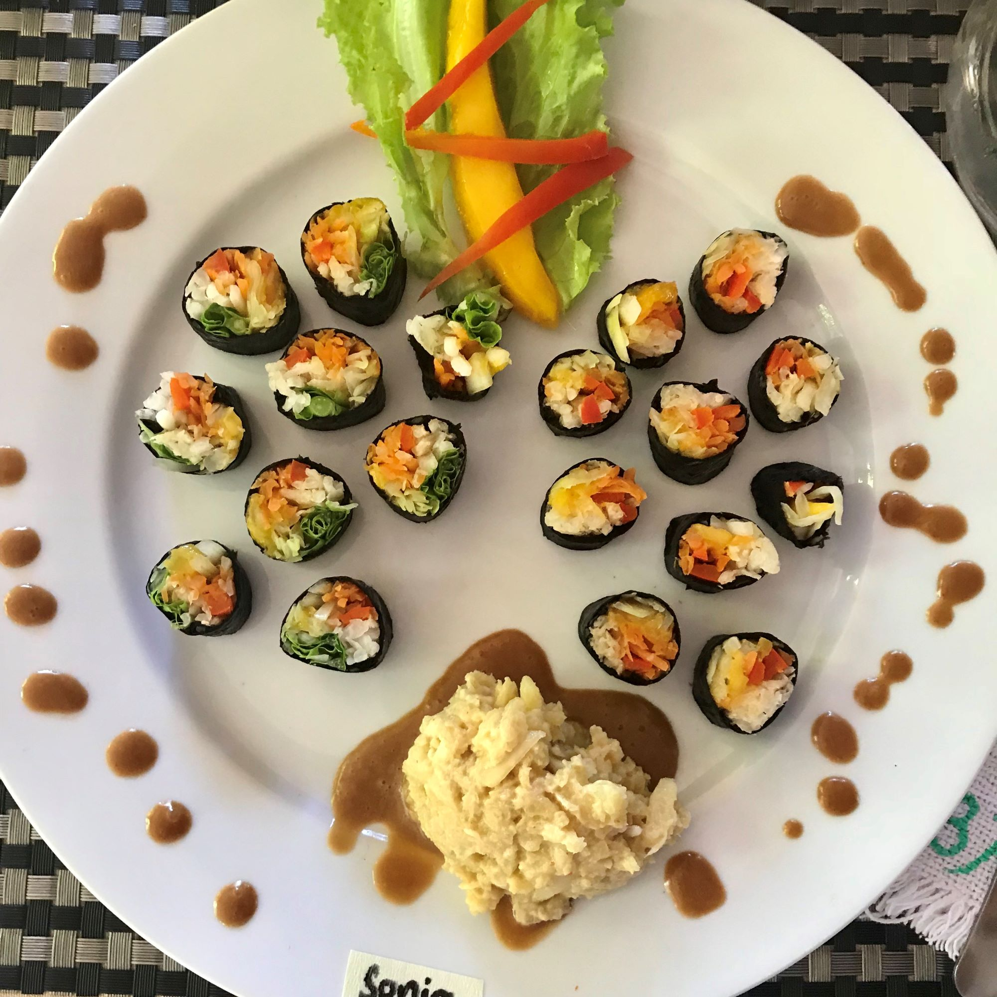 Raw sushi with radish rice