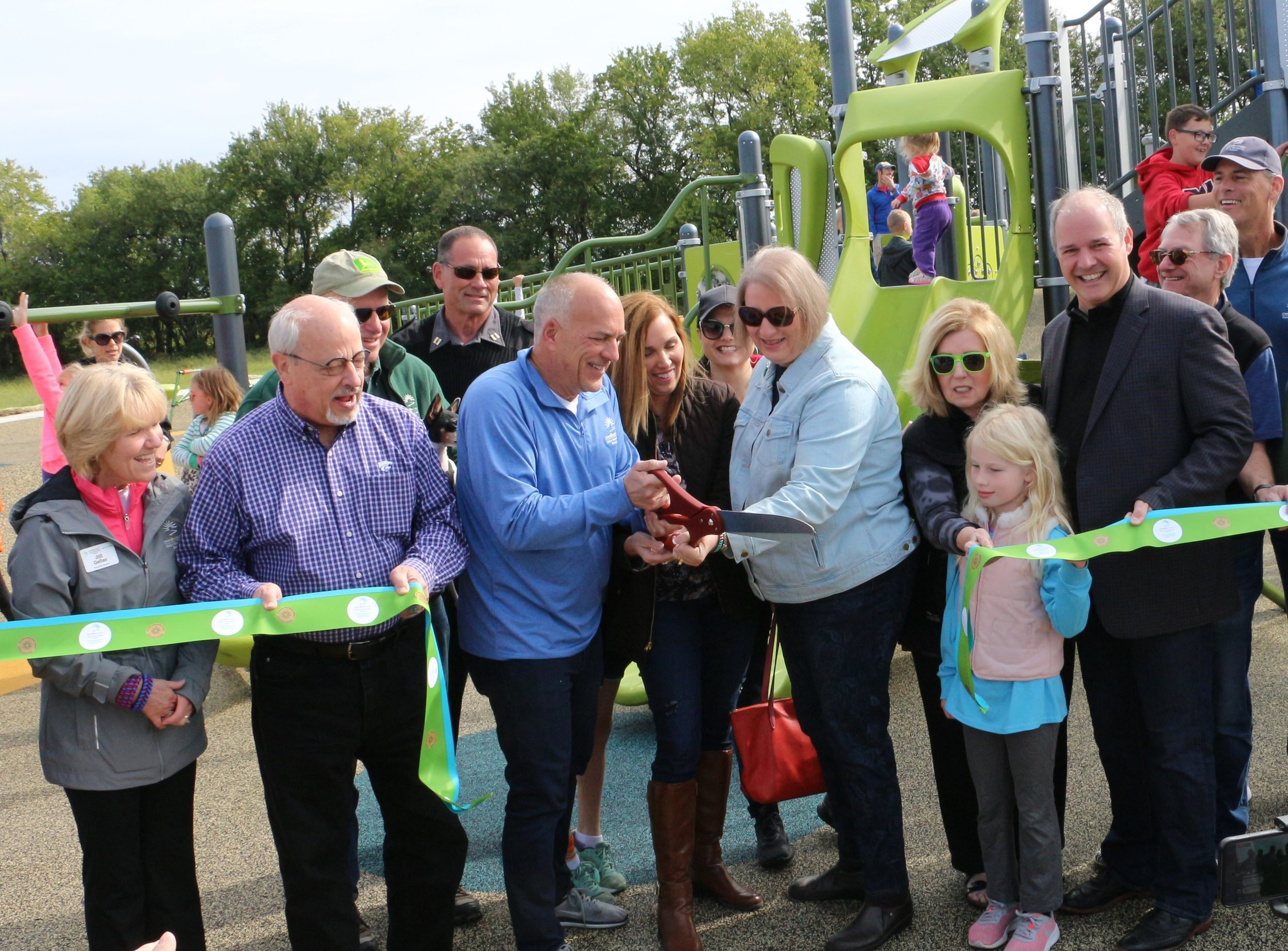 Nancy Wallerstein Cutting Ribbon For New Park