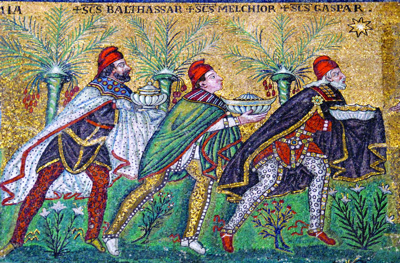 Journey of the Magi, mosaic in the Basilica Sant'Apollinare Nuovo in Ravenna, c. 6th century
