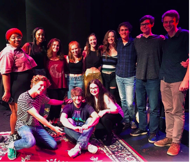 A Block Contemp: First row: Rachael Murdock '18, Rikki Palmer '18, Katie Wiatrak '18, Tate Shuttlesworth '18, Juliet Wiatrak '18, Joey Cleverdon '18, Grant Freeman '18, Evan Brandon '18, Nathan Fisher '18. Second row: Max Simon '19, Clint Jacobs, Kadie Jacobs '19