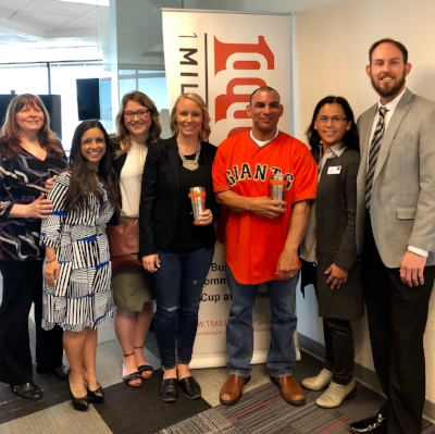 Laura Good of Startup Sac (far left) with SEA presenters and cheering squad: Veronica Jacob, Tamar Foster,Ali Palisca,Joaquin Muñoz, Christy Serrato and Eric Grabin (left to right).