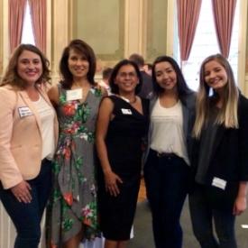 Class of 2018 Fellows  Tamar Foster ,  Samantha Contreras  &  Anastasia Peychev  with Board Member/Alumna/Mentor  Laurie Dakin  and Program Director/Alumna  Christy Serrato