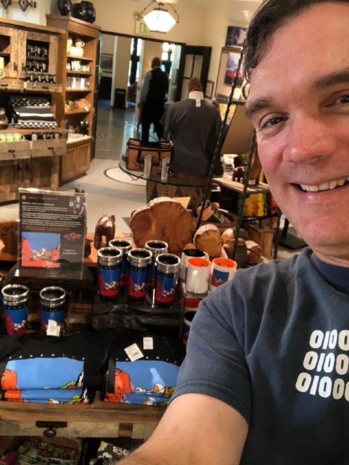 Jonathan Batchelor admiring Goodchap products on display