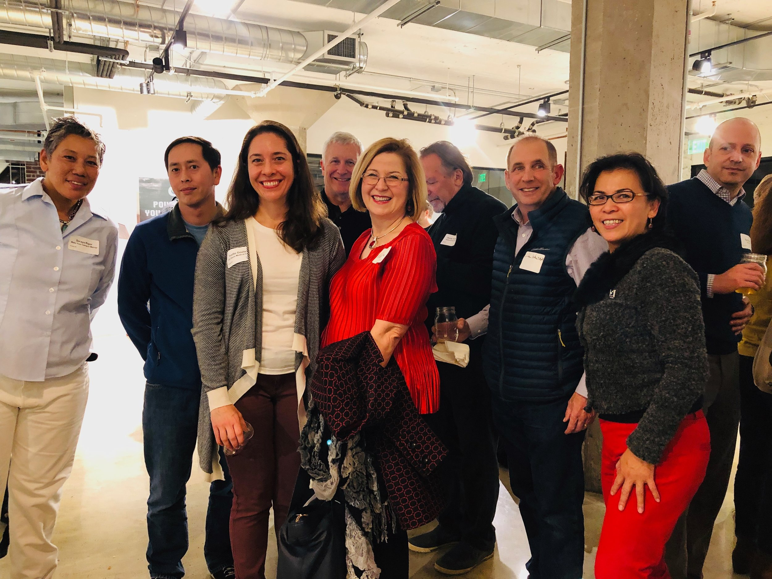 SEA Alumni ( Syta Saephan of Notifii ,  Christy Serrato of Pair Anything/SEA ) and Board Emeriti  Bob Gregoire of CxORE  and  John Walter of Repower Yolo ) welcomed  incoming 2019 Fellows    Kris Lea and Yvette Goularte
