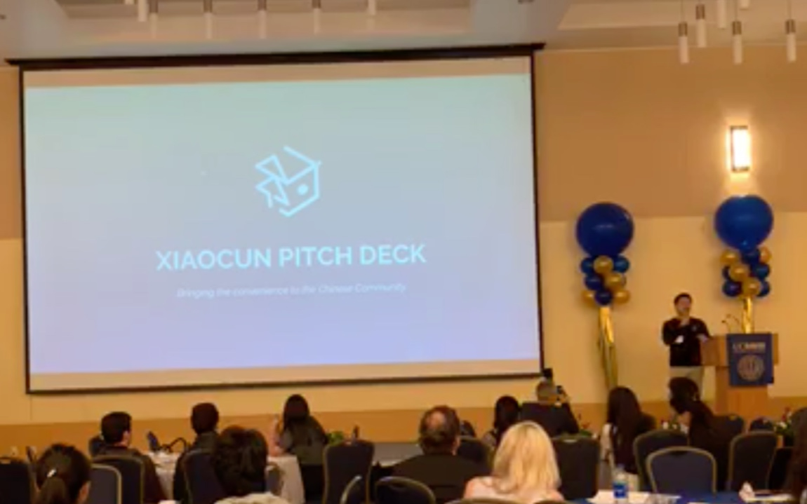 Benda Zhu pitches Xiacun - providing the expected convenience to dining and other services for Chinese international students