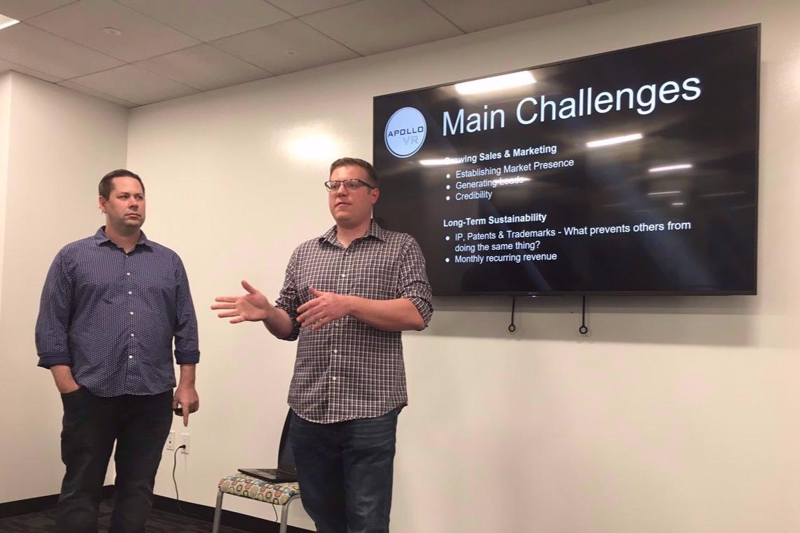 Colton presenting Apollo VR at  1 Million Cups