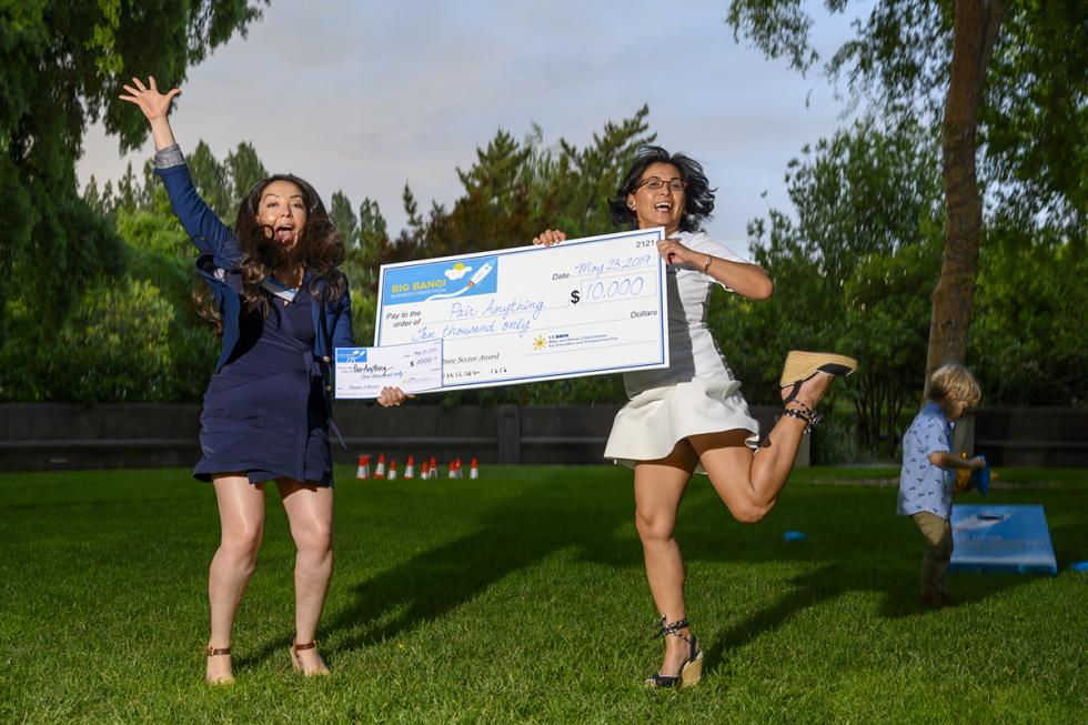 SEA alumnae  Christy Serrato  (r), CEO and founder of PairAnything, and  Samantha Contreras , COO/VP of business development and celebrate.