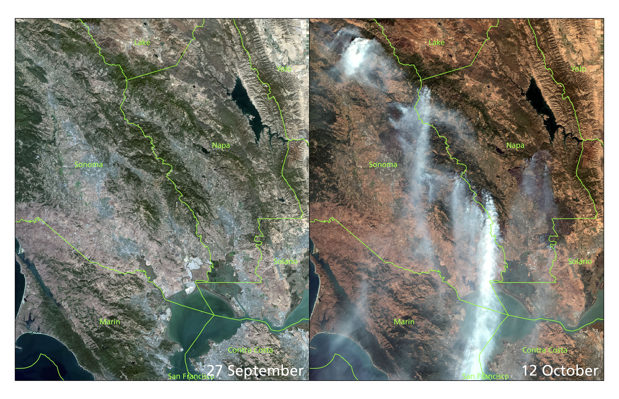 1:500,000 true-color images of the North Bay from Sentinel-2a (left; 27-Sep) and Sentinel-2b (right; 12-Oct).  Copernicus  Sentinel data (2017)