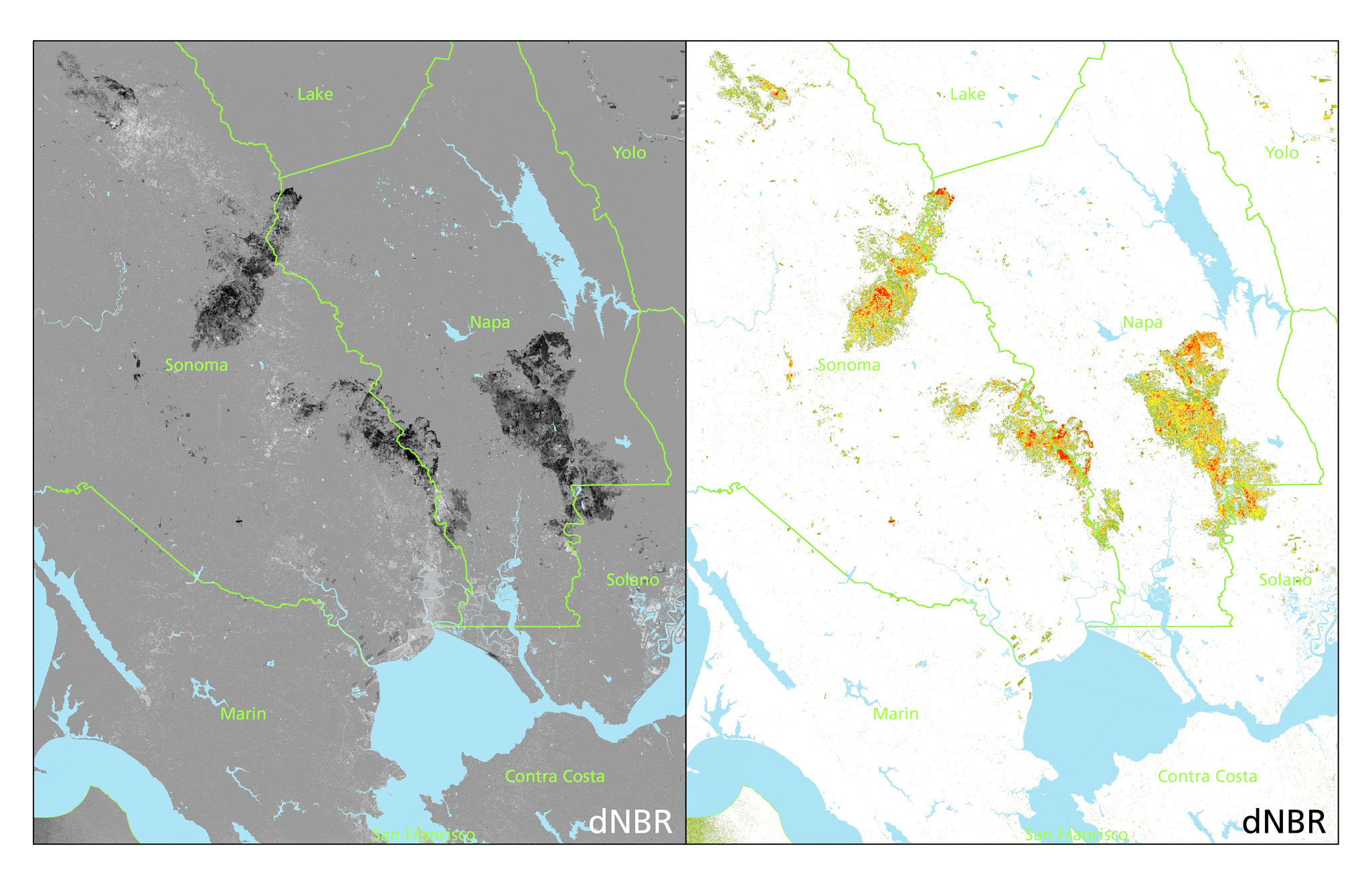 Left: dNBR, North Bay. Darker = higher values, 'burned areas.' Color ramp inverted compared to the previous figures, sorry! Right: dNBR showing burn intensity. Colors correspond to ordinal severity levels as defined by the  USGS (pdf) . Own work; contains modified  Copernicus  Sentinel data (2017)