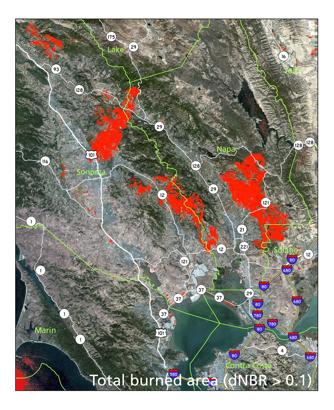 Delta Normalized Burn Ratio, North Bay, 27 September - 12 October. Own work; contains modified  Copernicus  Sentinel data (2017)
