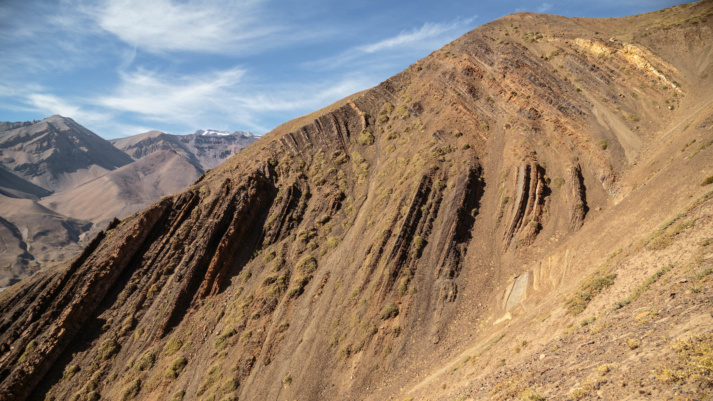 Kink fold associated with mass movement in a middle Jurassic marine sequence, Valle del Yeso, central Chile.