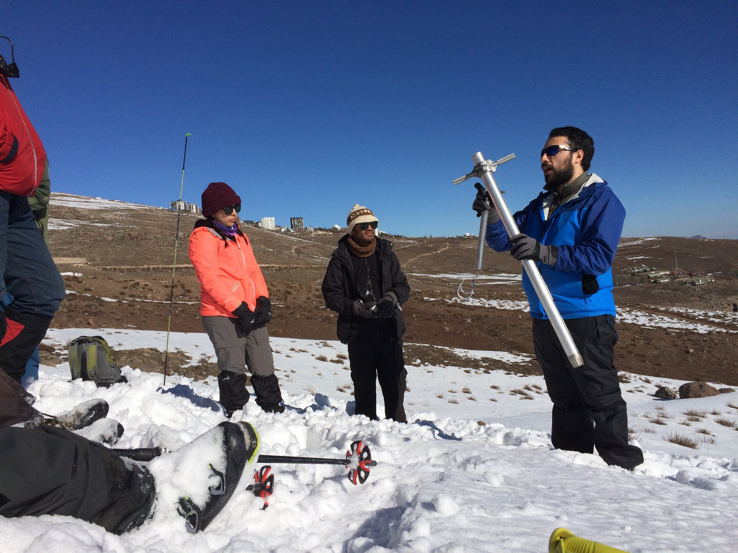 The Federal Snow Sampler can be used to quickly determine a bulk estimate of snow water equivalent…when not clogged with ice. As an ice climber i can sympathize.
