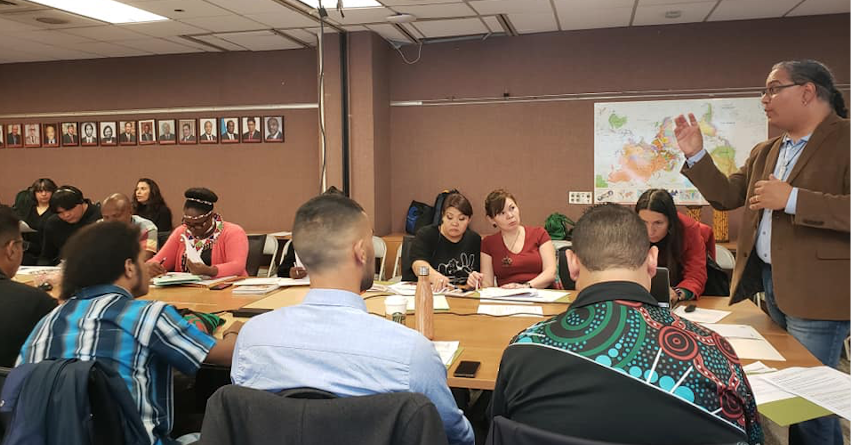 Roberto Borrero, Project Access lead trainer, gives an overview of Indigenous Peoples engagement at the United Nations to the 2019 Project Access fellows.
