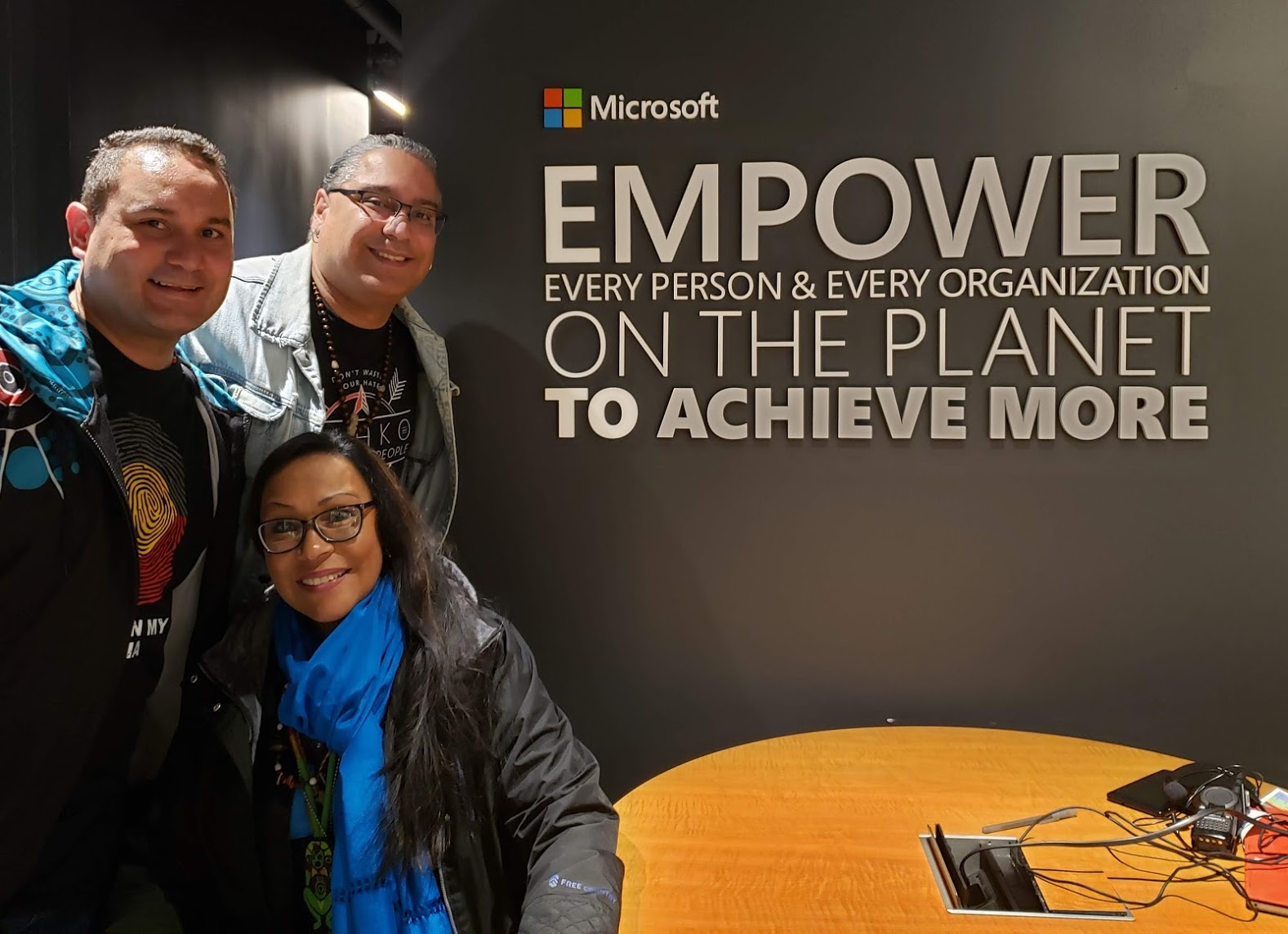 Karl Briscoe of Australia along with Roberto Borrero and Tai Pelli of the United Confederation of Taíno People participate in Digital Custodians IT Workshop held at the Microsoft Store in New York City.