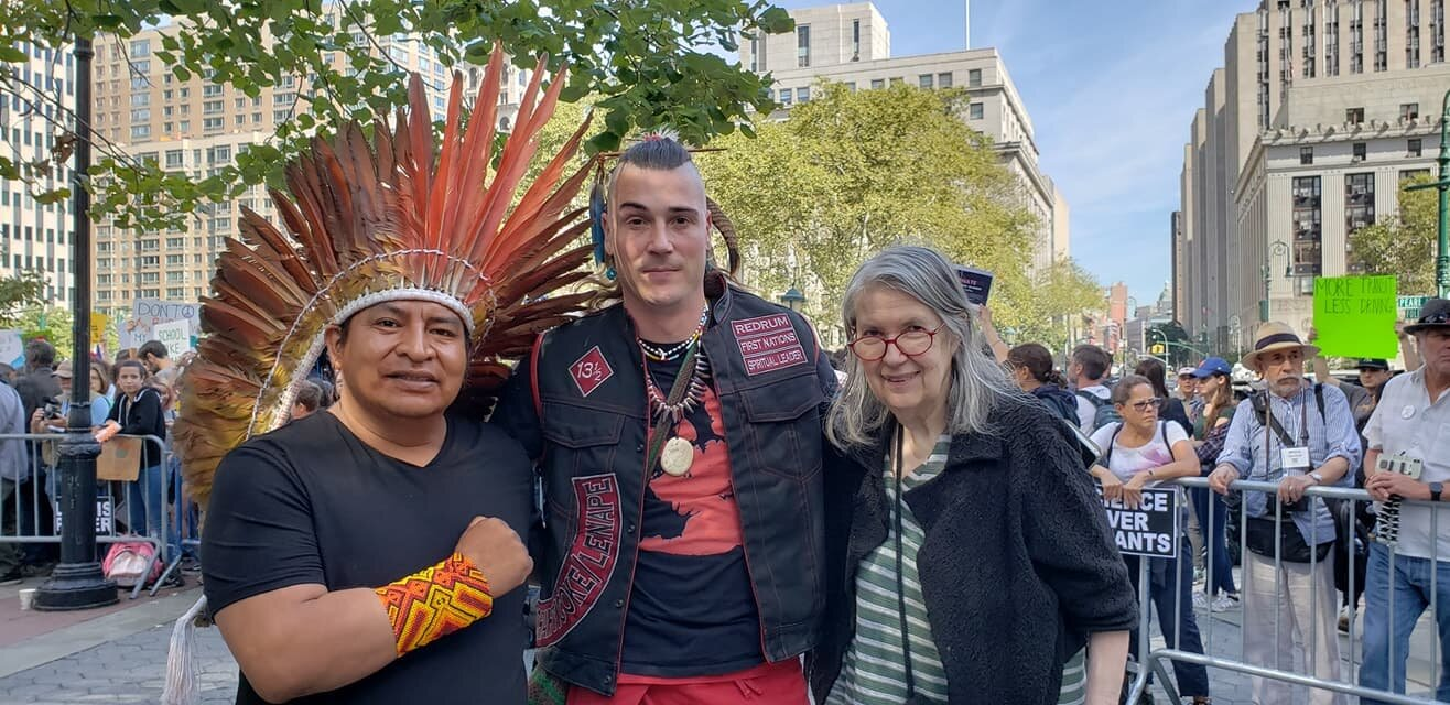 Chief Tashka Yawanawa of Brazil; Sachem Hawk Storm of the Schaghticoke First Nations; and Pamela Kraft Executive Director of the Tribal Link Foundation at the Global Climate Strike rally and march in New York City on September 20, 2019.
