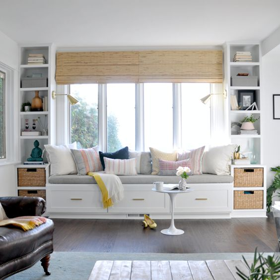 Built-in reading bench with bookshelves.