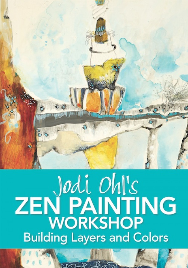 """This video workshop soothes your artistic soul through a """"zen-full"""" painting experience. Jodi Ohl encourages you to go beyond the doodle and work on unique artist grade hard surfaces while exploring how to take your pencil, pens, inks and paints to a new abstract level. Create a colorful abstract work and make the most of a limited color palette when you order your copy today!"""