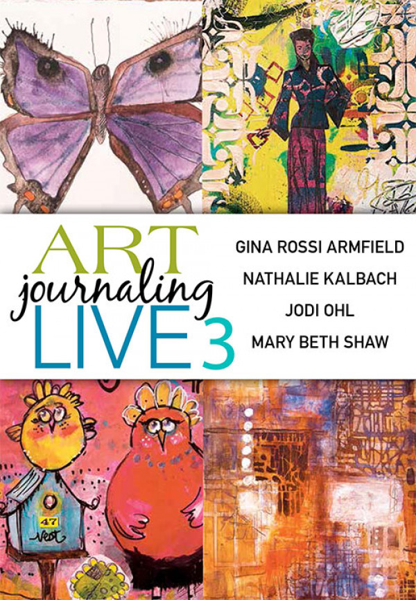 """Enjoy the  Art Journaling Live 3  experience with the ultimate collection of art journaling workshops in easy download format! In Nathalie Kalbach's workshop """"Creating Texture and Layers"""" you'll loosen up by adding layer after colorful layer of handmade marks, stenciling, collage and more. Then, get wild and whimsical with Jodi Ohl's """"Character Studies!"""" After learning acrylic painting techniques like glazing and veiling, you'll try your hand at creating cute characters of your choosing. Add watercolor painting with personal flair to your art journaling repertoire with techniques from Gina Rossi Armfield's """"Watercolor Basics"""" class. Finally, discover the power and magic of what can happen with a handful of stencils and a limited color palette in Mary Beth Shaw's """"Your Brain on Stencils"""" workshop."""