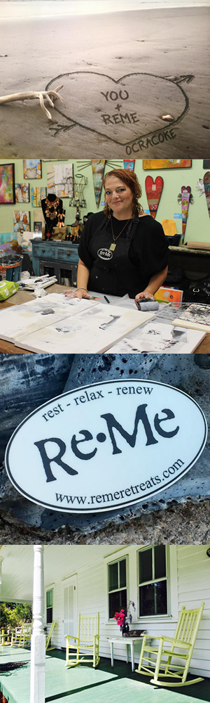 """REME RETREATS: Ocracoke 2019 - Hosted by ReMe Retreats from April 29 - May 4, 2019 in Ocracoke Island, North CarolinaJodi's Workshop: """"Abstract Collage Collective""""Do you have an eye for spotting patterns, or an intrigue for lush textures? Patterns and textures are all around if we open our eyes and minds to them. Consider the bark of a tree, or the formation of strata in a mountainous setting-the colors, the patterns, the texture all fits together in an imperfectly perfect way. Walk through a store and you will find a myriad of patterns in clothing or textiles that jump out and capture your eye. Perhaps you are drawn to lettering and find graphics in a book or letterpress fascinating. Looked at individually, these patterns and textures may not tell a story, but you as an artist with little more than instinct can breathe life into the unrelated and create stories through collage, color, paint and abstraction. During this fun filled course, students will be working with paint, creating prints, and embellishing paper/fabric-based collage elements & more before assembling into a small body of work that tells a story, unique to each student.Set in a remote island off the coast of North Carolina, students of our ReMe Ocracoke retreat are sure to be inspired by the natural serenity that can only be found along the seashores of the Outer Banks. A perfect setting to let your creativity muse come alive during our flagship retreat. Rest, Relax, Renew and create your own story as we work on 3-4 abstract collages full of marks, texture, pattern and color.Duration: Students will arrive Monday afternoon and depart Saturday morning. The schedule for the week will include 1 ½ days of classes each from instructors Jodi Ohl and Jean Skipper. The working studio will be open 24 hours a day so if the mood moves you, you may work until the wee hours of the night or rise up early and enjoy some quiet time to work in your journal or to finish up your project prior to class commencing. In ad"""