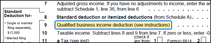 Qualified Business Income Tax Deduction as seen on your tax return
