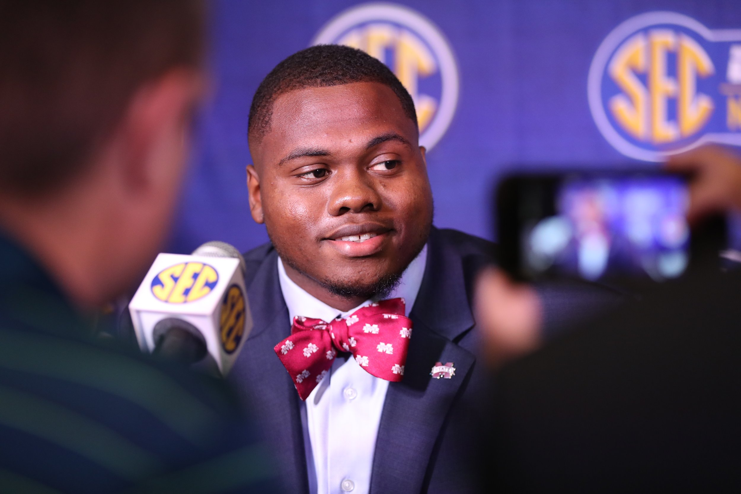 Erroll Thompson fielding questions at SEC Media Days. Photo by Aaron Cornia courtesy of Mississippi State Athletics.