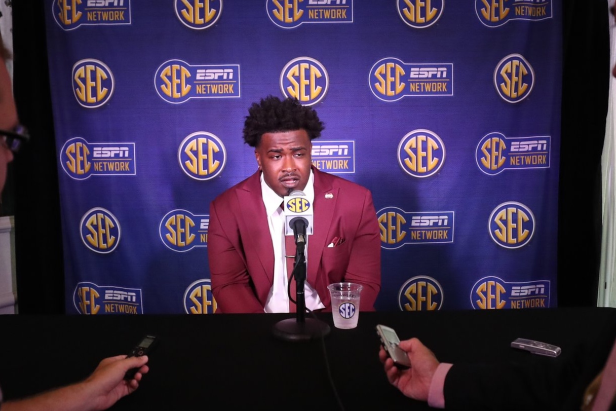 Team captain Darryl Williams speaks at SEC Media Days. Photo by Aaron Cornia courtesy of Mississippi State Athletics.